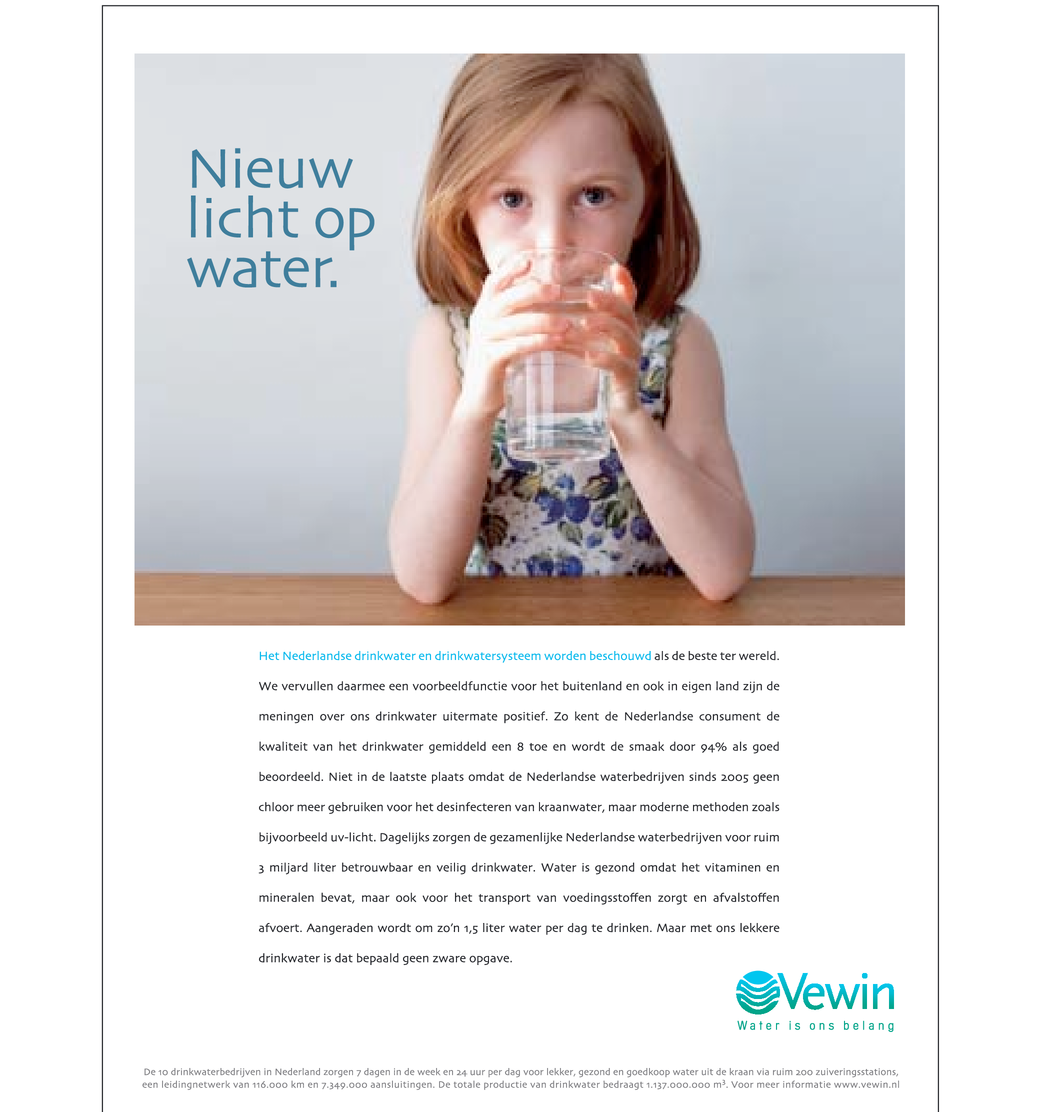 Corporate campagne voor VEWIN; Water is ons belang.