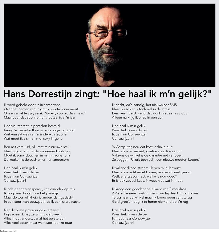"""Hans Dorrestijn zingt: """"Hoe haal ik m'n gelijk?"""""""